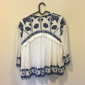 Jackets & Coats - White and blue pattern jacket